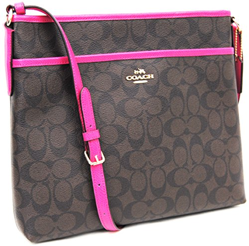 Coach Signature File Bag - Brown/Pink Ruby