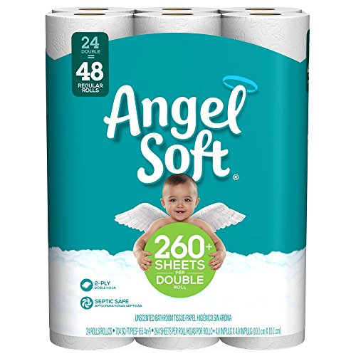 Angel Soft Toilet Paper, 24 Double Rolls, 24 = 48 Regular Bath Tissue Rolls (Packaging May Vary) (Angel Soft 4 Pack Toilet Paper Price)