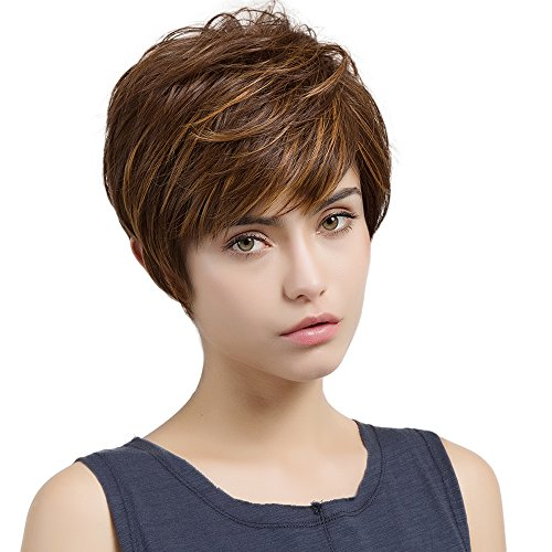 HAIRCUBE Short Wigs for Women Heat-Resistant Synthetic Wigs Color Brown Mixed Golden]()