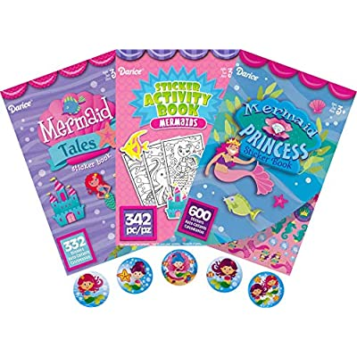 Mermaid Tales, Mermaid Princess, Activity Book and More for Kids – 3 Sticker Books Plus 50 Addition Mermaid Adventure Stickers - Over 1300 Stickers in This Bundle: Toys & Games