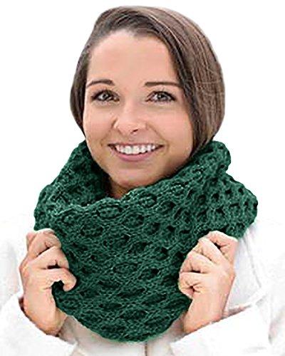 Carraig Donn Merino Wool Honeycomb Irish Snood Scarf (Green)
