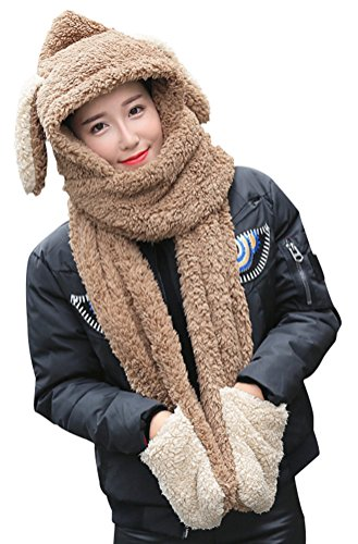 Lovful Women Girl Rabbit Plush Soft Winter Warm Hoodie Gloves Pocket Hat Scarf,Khaki