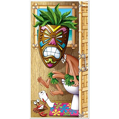 Tiki Man Restroom Door Cover 30in. x 5ft. 1/Pkg, Pkg/3 -
