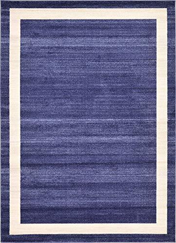 Unique Loom Del Mar Collection Contemporary Transitional Navy Blue Area Rug (7' 0 x 10' - Navy Rug Border