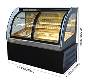 220V Commercial Curved Countertop Refrigerated Cake Bakery Display Case Cabinet Open the Front Door(Item#210081)