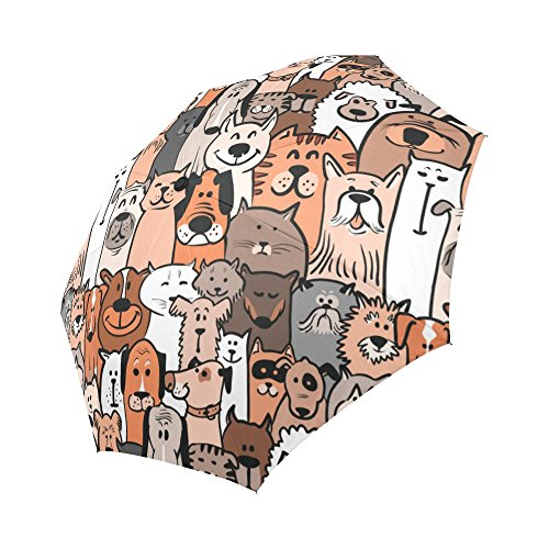 InterestPrint Doodle Dogs And Cats Windproof Auto Open And Close Folding Umbrella,Seamless Pattern Lightweight Outdoor Travel Sun And Rain Umbrella UV Protection
