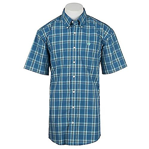 Cinch Horse Tack (Cinch Men's Classic Fit Short Sleeve Button One Open Pocket Plaid Shirt, Blue, Small)