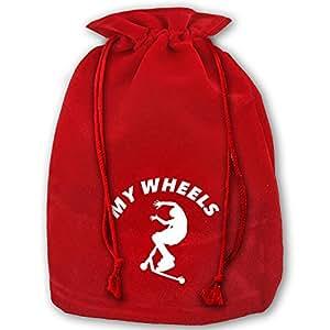 My Wheels Red Velvet Drawstring Santa Plush Gift Bag For Christmas Wedding Gifts