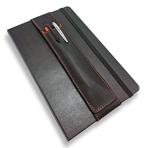 Quiver Rest - QUIVER Notebook Pen Holder | Elastic/Reusable/Non-Adhesive | for Hardcover Notebooks Like Moleskine/Leuchtturm1917/AmazonBasics Classic 8-8.5 Inches Tall (Black Leather/Red Stitching)