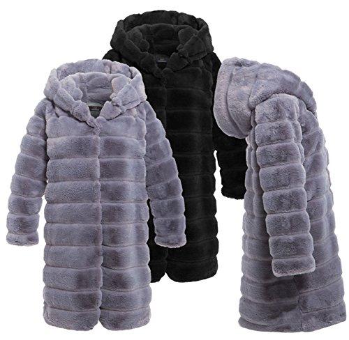 fourrure VESTE en Gris TAILLE Black 12 10 Gris femmes 14 FOURRURE manteau fausse 8 FEMMES CqUUTw