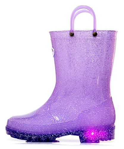 Outee Toddler Girls Kids Light Up Rain Boots Waterproof Shoes Glitter Light Weight Cute Lovely Funny with Easy-On Handles Classic Comfortable (Size 8