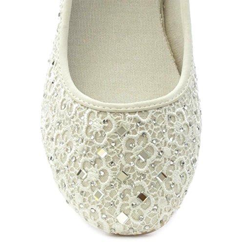 de Lilley Blanc dans de Femmes Bijoux pour Chaussure des Couleur avec des de Ballerine Le qwTngqx6Z