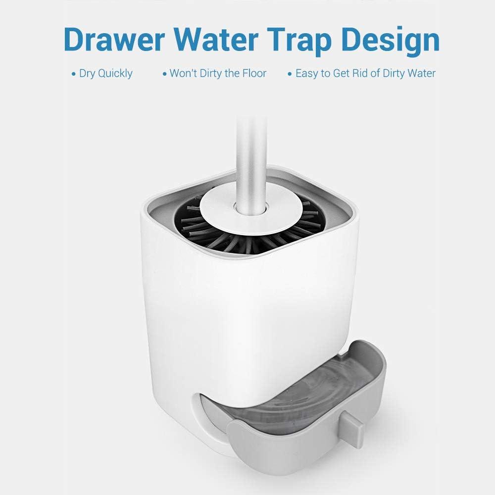Balai Toilette Design Accessoire WC et 2 Poussoirs de Couvercle de Toilette DazSpirit Brosses WC Silicone et Supports