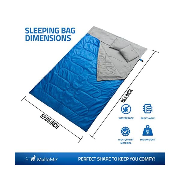 MalloMe-Camping-Sleeping-Bag-3-Season-Warm-Cool-Weather-Summer-Spring-Fall-Lightweight-Waterproof-for-Adults-Kids-Camping-Gear-Equipment-Traveling-and-Outdoors-1
