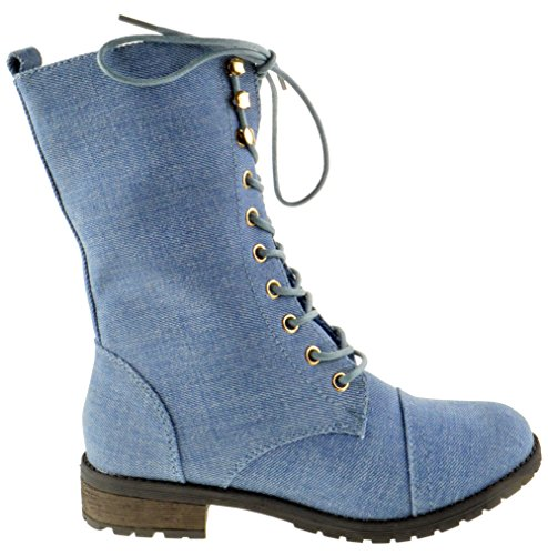 Top Moda Frauen-Pack-72 Lace Up Combat Boot Hellblauer Denim Blue Denim