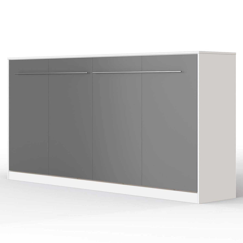 SMARTBett Standard 90x200 Vertikal Weißs Schrankbett   ausklappbares Wandbett, ideal geeignet als Wandklappbett fürs Gästezimmer, Büro, Wohnzimmer, Schlafzimmer Weißs Anthrazit 90 Horizontal