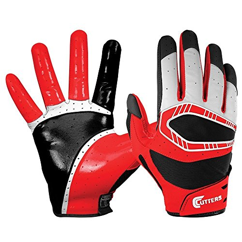 Football Receiver Glove Cutters (Cutters Gloves REV Pro 3D Receiver Glove (Pair), Red, X-Large)