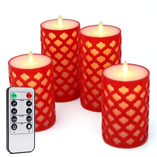 Gold Union,Set of 2,D 3.25''x H 5''6'',Round Top LED Flameless Candles Red Light,Flower Pattern, Moroccan Design,Environmental Paraffin Pillar,10 Keys Remote Timer,Cycle Every 24 Hours ()