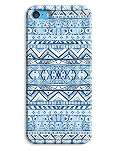 Freestyle Drawn Blue Aztec Case for your iPhone 5C by lolosakes