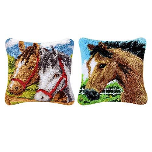 Prettyia 2 Set 17x17 Inch Horses Latch Hook Rug Kit DIY Embroidery Cross Stitch Needlework for Cushion Pillow Mat
