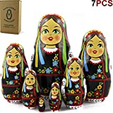 MATRYOSHKA&HANDICRAFT Ukrainian Nesting Dolls 7 Pieces - Ukrainian Gifts - Ukrainian Folk Costume Clothing