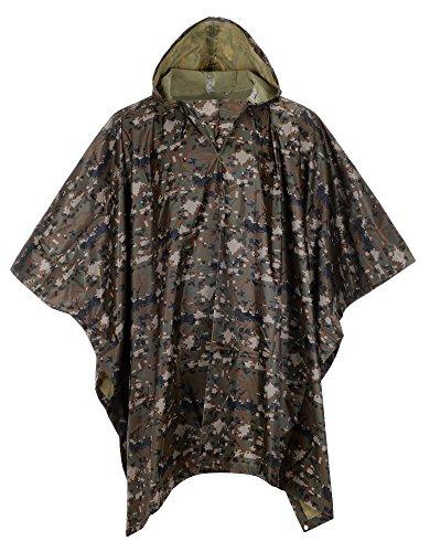 Camouflage Raincoat Mens (QZUnique Men Lightweight Outdoor Ripstop Waterproof Packable Travel Rain Poncho Camouflage Raincoat with Hood Pattern 2)