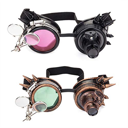 Spiked Steampunk Goggles with Double Ocular Loupe Vintage Welding Punk Gothic Glasses (Best Music For Fireworks Display)