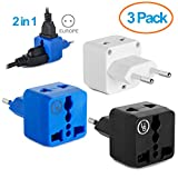 Yubi Power 2 in 1 Universal Travel Adapter with 2 Universal Outlets - Built in Surge Protector - 3 Pack - Black - White - Blue - Type C for Europe, France, Germany, Hungary, Portugal, Russia, Spain