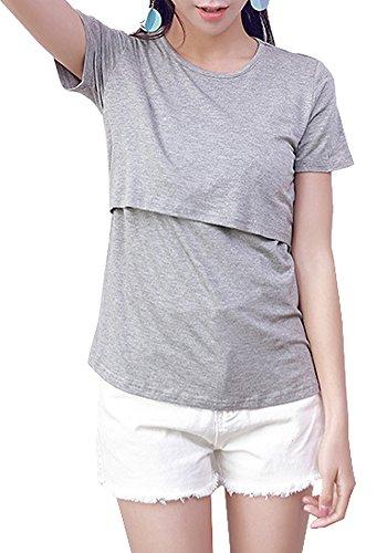 絵画像引くレディース 長袖 授乳服 トップス 前開き 秋 冬 授乳 tシャツ