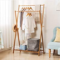 GONGting Foldable Bamboo Clothes Laundry Rack with 2 Side Hooks Lower Shoe Shelf for Extra Storage Space A-Frame Design Garment Stand, Portable Extra Large Garment Rack (Ship from USA!!!)