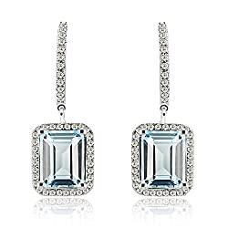 Emerald Cut White Gold Diamond Topaz Earrings