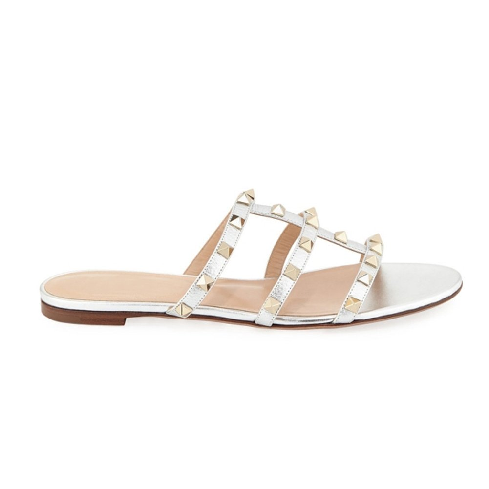 MERUMOTE Women's Rivets Studs Strap Flats Summer Daily Buckle Flat Sandals B07DYMX2X2 12 M US|Silver With No Straps