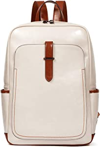 BROMEN Leather Laptop Backpack for Women 15.6 inch Computer Backpack College Travel Daypack Bag Beige
