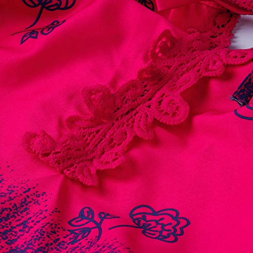 Vif Taille Bandage Tops V Imprim Dentelle Rose Lolittas La Plus Manches Longues LaChe Blouse Femmes Col wvZqwxaU