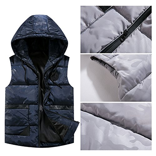 Vest Down Sleeveless Winter Blue Down Jacket Autumn Outwear Waterproof Hooded Deep Windproof Zipper amp; Coat BOZEVON Mens Ta5OWp7O6