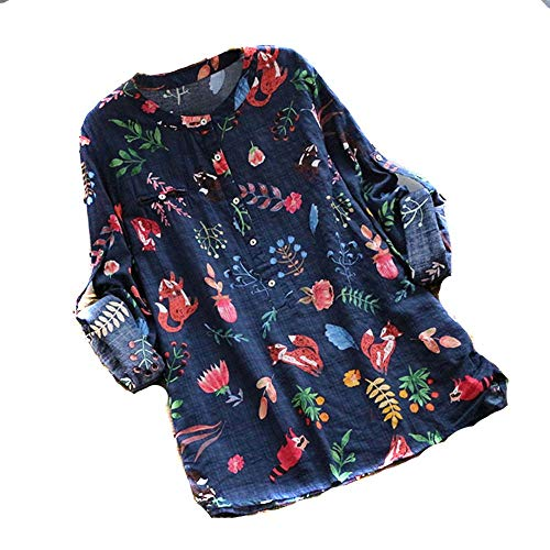 Shirt avec Boutons Manche Tops Longue Magiyard Marine Chemisier T Femmes Impression w0AFAx