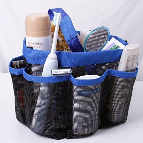 Toamen New Useful Mesh Shower Tote Wash Bag Bathroom Caddy With 8 Basket Pocket Storage Package