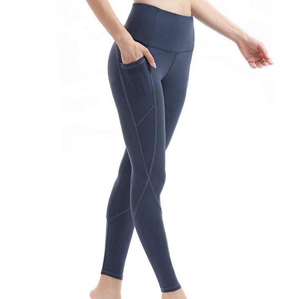 Tomasa Legging Femme Pantalon de Sport avec Poches Yoga Fitness Gym Pilates Taille Haute Gaine Large