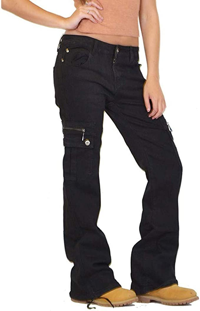 US Womens Plus Size High Waist Cargo Harem Pants Pockets Long Palazzo Trousers