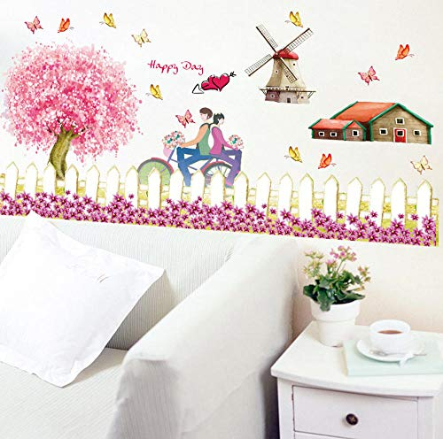 - sasdasld Fence Windmill Pattern Pastoral Style Farm Theme Decorative Decals DIY Wall Stickers Home Decor