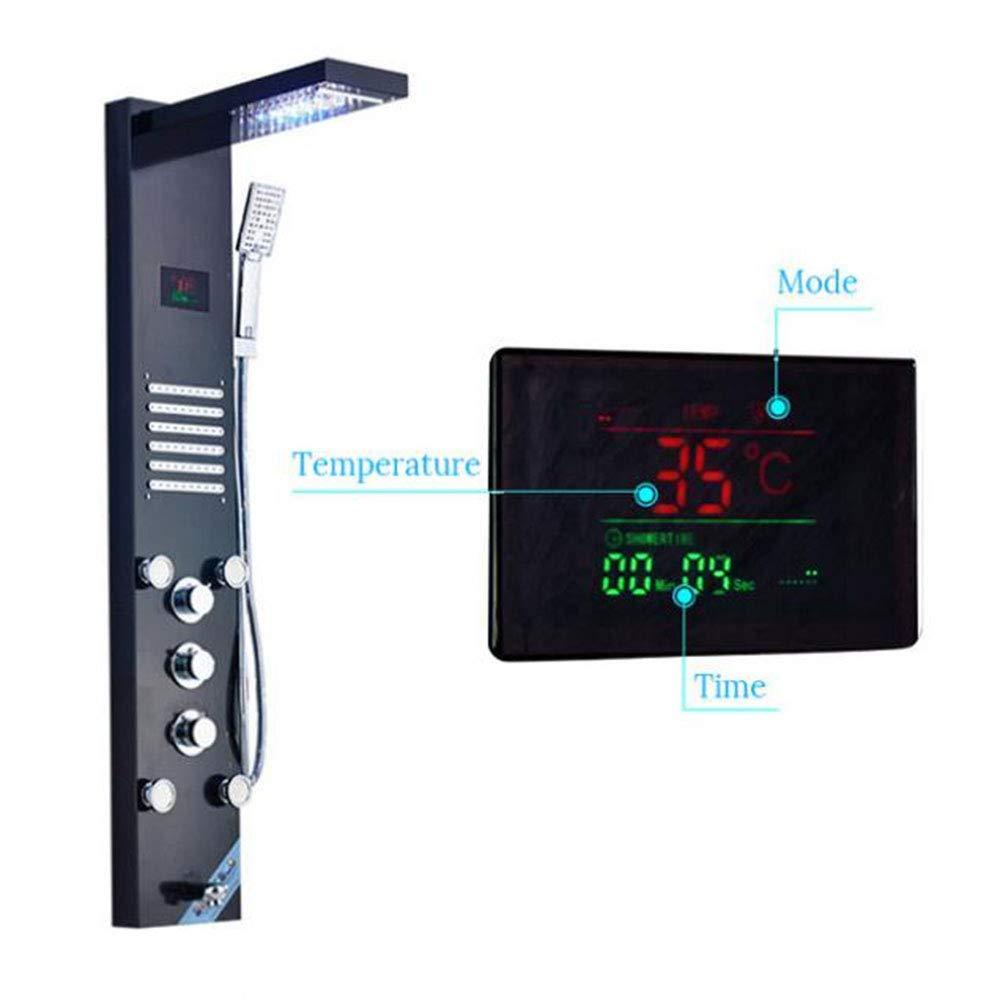 新しいled浴室のシャワースクリーンゴールデン滝シャワーコラム蛇口デジタル温度スクリーンシャワーシステムミキサーバスタブスパウト B07QLT725S