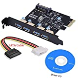 XinYS USB3.0 PCI-E to USB 3.0 4 Port PCI Express Expansion Card (PCIe Card),Superspeed USB 3.0 Card 15-Pin Power Connector Desktops,Super Speed Up to 5Gbps