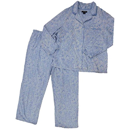 Womens Blue Paisley Fleece Button Top Pajamas Satin Trimmed Sleep Set 2X