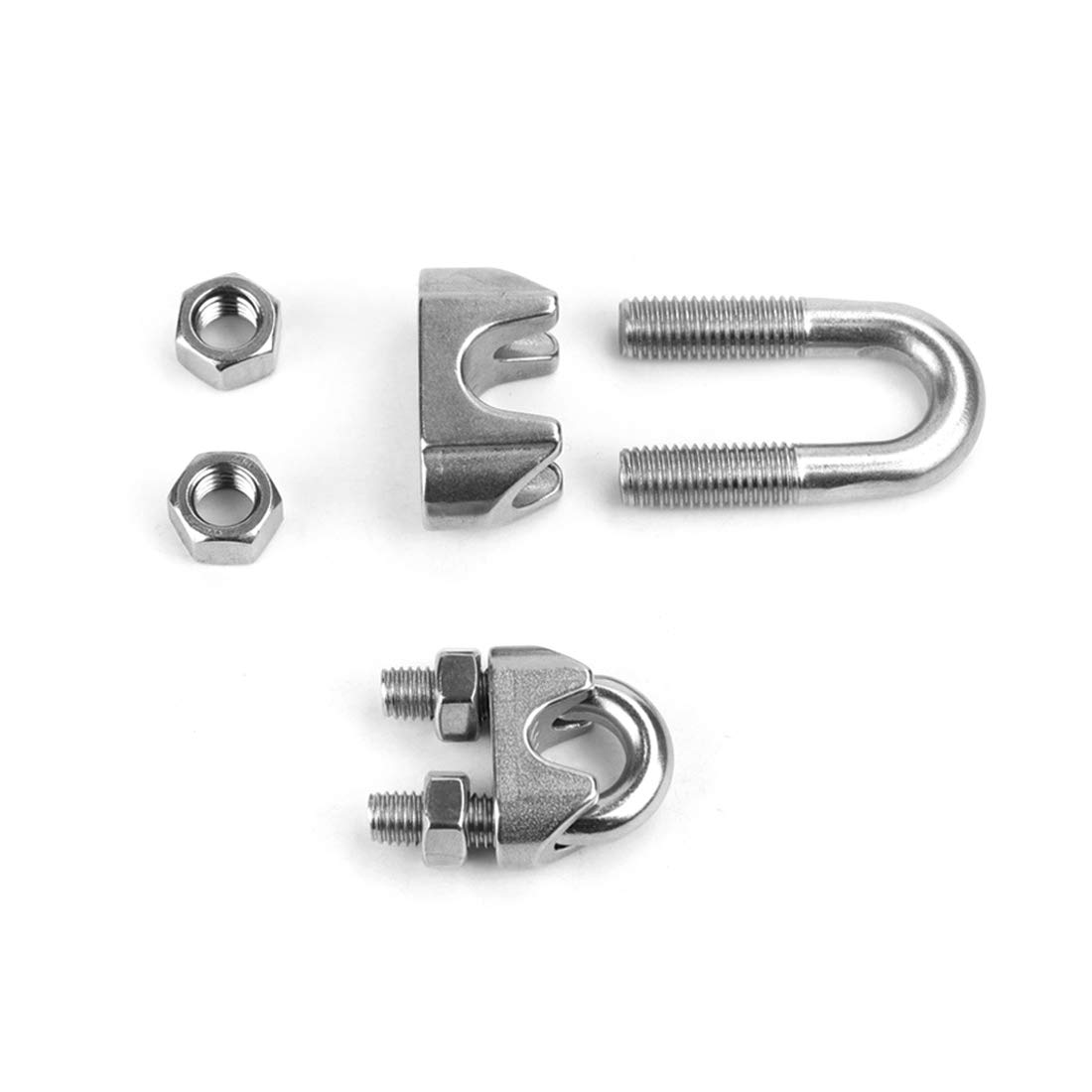 Wire Rope Clip 12mm 1//2 Inch 304 Stainless Steel Saddle Clamp Cable Wire Rope Clip Fastener 5pcs