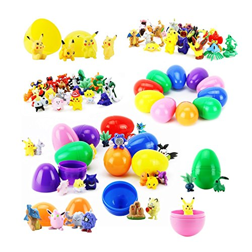 FAVTOY ISLAND - 12 Prefilled Easter Egg with 36 Piece Pokemon Randomly Assorted Action Figures (All Pokemon Generation)