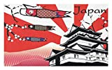 gable roof design Lunarable Tokyo Doormat, Japanese Castle with Traditional Style Gable Roof Koinobori and Sakura Flowers Image, Decorative Polyester Floor Mat with Non-Skid Backing, 30 W X 18 L Inches, Multicolor