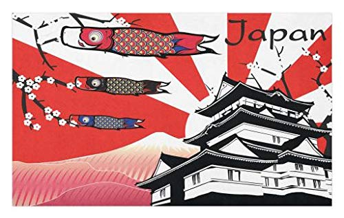 Lunarable Tokyo Doormat, Japanese Castle with Traditional Style Gable Roof Koinobori and Sakura Flowers Image, Decorative Polyester Floor Mat with Non-Skid Backing, 30 W X 18 L Inches, Multicolor