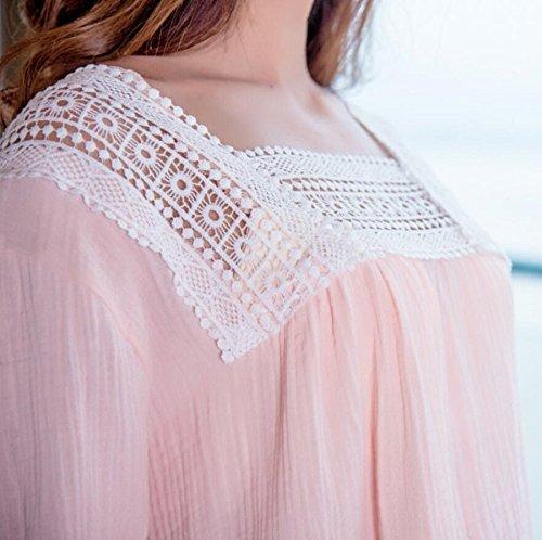 ZC&J El nuevo 2017 de Miss Xia Ji hueco transpirable cuello / rosa / pieza de lencería cuadrado blanco fresco y cómodo /,white,One size Pink