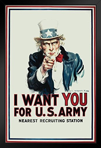 Uncle Sam I Want You The Army WPA War Propaganda Framed Poster 14x20 inch -