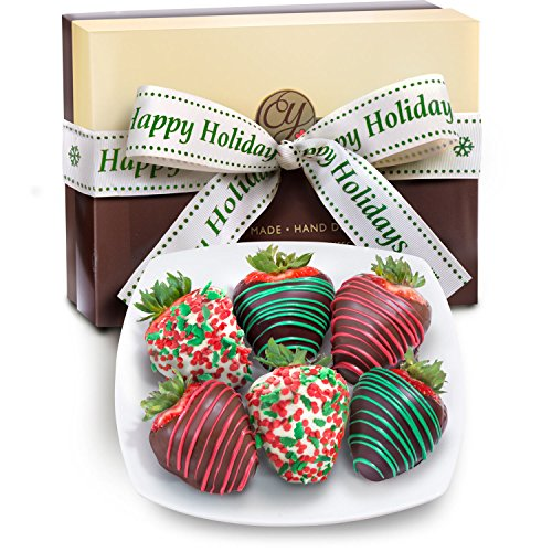 Golden State Fruit 6 Holly Jolly Christmas Chocolate Covered Strawberries with Happy Holidays Ribbon (Strawberry Dipped In Chocolate Delivery)